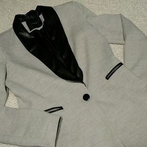 Y.A.S Blazer Gray & Black Leather 36 Small